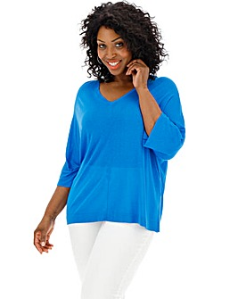 Azure Blue Linen Mix Batwing Jumper