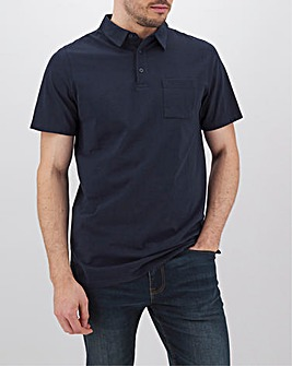 Navy Stretch Jersey Polo Long
