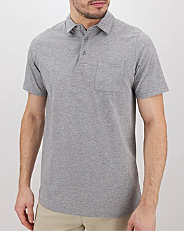 Grey Marl Stretch Jersey Polo Long