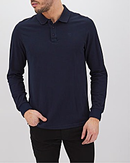Navy Long Sleeve Embroidered Polo