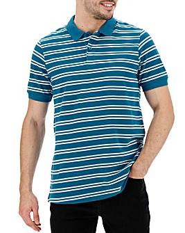 Fine Stripe Teal Polo Long