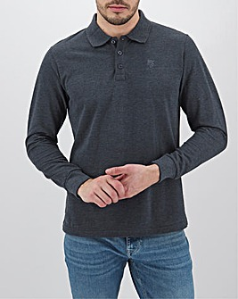 Denim Long Sleeve Embroidered Polo Long