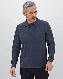 Denim Long Sleeve Embroidered Polo