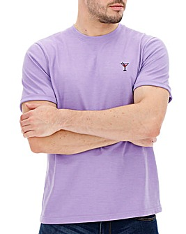 Lilac Marl Embroidered Detail Short Sleeve T-shirt