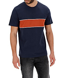 Navy Cut & Sew Colour Block T-shirt Long