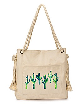 Cactus Embroidered Beach Bag