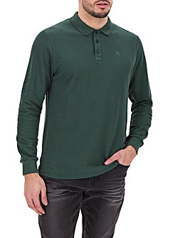 Pine Green Long Sleeve Embroidered Polo Long