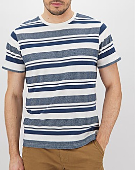 Textured Stripe Roll Sleeve T-Shirt Long