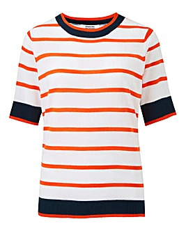 Orange Stripe Short Sleeve Jumper