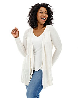Ivory Linen Mix Waterfall Cardigan