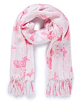 Butterfly Print and Silver Lurex Scarf