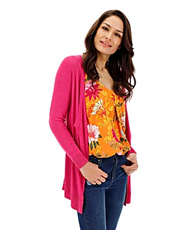Fuchsia Linen Mix Waterfall Cardigan