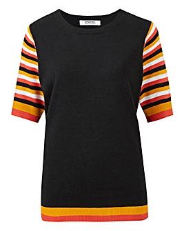 Black Stripe Short Sleeve Jumper