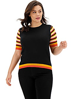 Black Stripe Short Sleeve Jumper