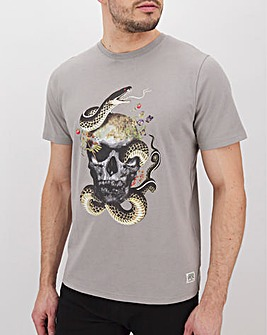 Acid Wash Snake &Skull Graphic T-Shirt L