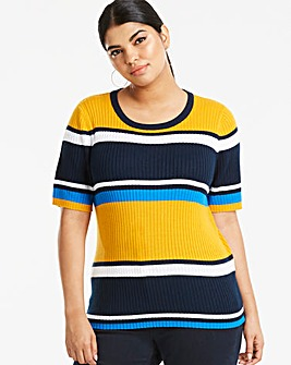 Saffron Stripe Short Sleeve Jumper