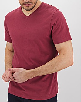 Red V Neck T-Shirt Long