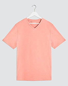 Pink V Neck T-Shirt Long