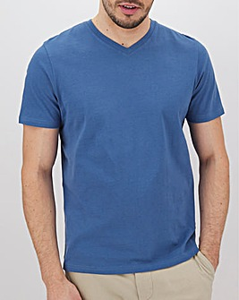 Denim Blue V Neck T-Shirt Long