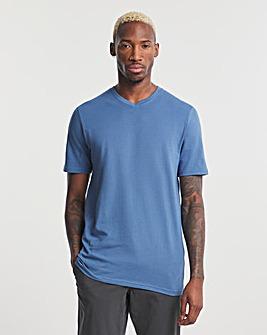 Denim Blue V Neck T-Shirt Long