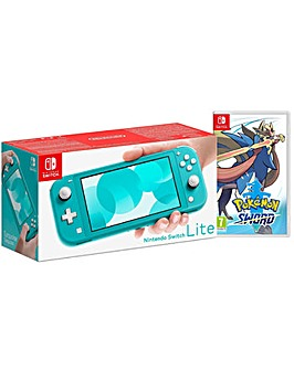 Switch Lite Turquoise and Pokemon Sword