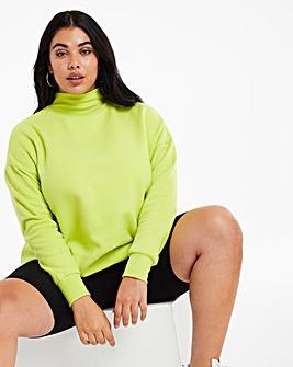 Neon Lime High Neck Sweat Tunic