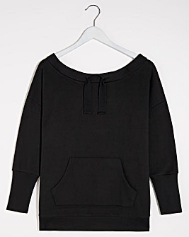 Black Off Shoulder Sweatshirt