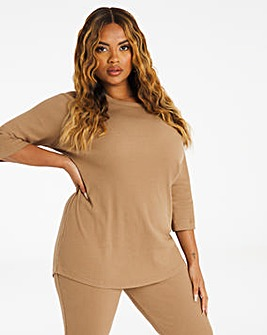 Camel Ribbed Crew Neck Longline Top