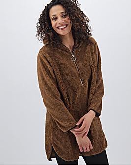 Camel Hooded Teddy Fleece Dress