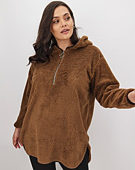 Camel Hooded Teddy Fleece Dress