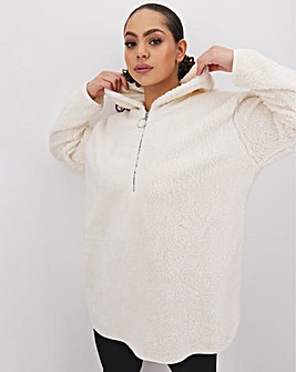 Cream Hooded Teddy Fleece Dress