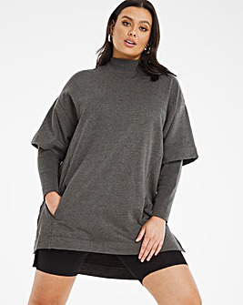 Double Layer Sleeve Sweat Tunic