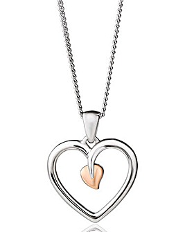 Clogau Sterling Silver & Rose Gold Tree of Life Heart Pendant