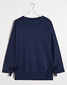 Navy Tie Side Sweatshirt