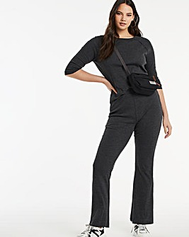 Charcoal Marl Ribbed Wide Leg Trousers