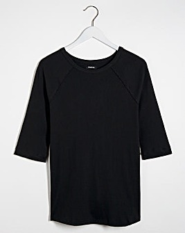 Black Ribbed Crew Neck Longline Top