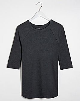 Charcoal Ribbed Crew Neck Longline Top