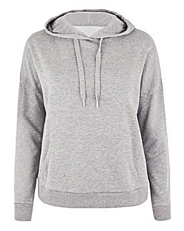 Grey Marl Fleeceback Pull On Hoodie