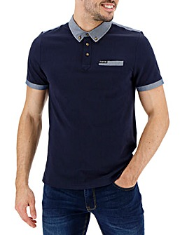 Firetrap Upscale Contrast Trim Polo Long