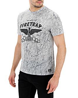 Firetrap Marble Print T-Shirt Long