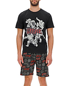 Marvel Black Short PJ Set