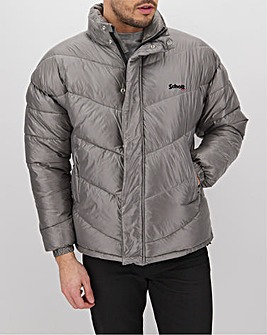 Schott Silver Padded Jacket with Hidden Hood