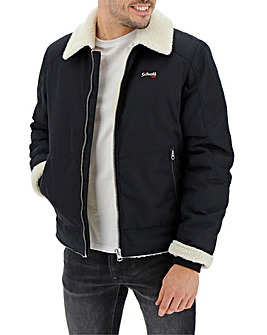 Schott Shearling Collar Bomber Jacket