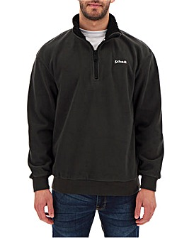 Schott Half Zip Sherpa Collar Fleece