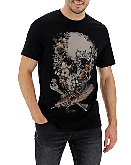 Religion Roses Skull T- Shirt Long