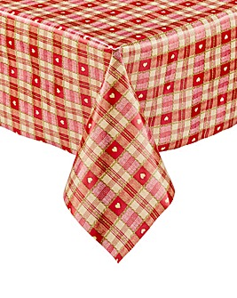 Gingham Hearts PVC Wipe Clean Tablecloth