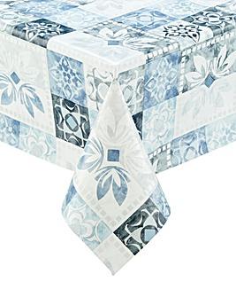 Tile Print PVC Wipe Clean Tablecloth