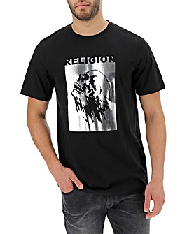 Religion Metallic Skull T-Shirt Long