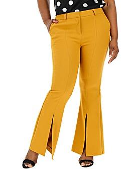 Wide Leg Flare Trousers with Split Hem