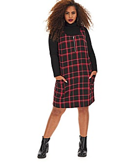 Tailored Check Pinafore Dress